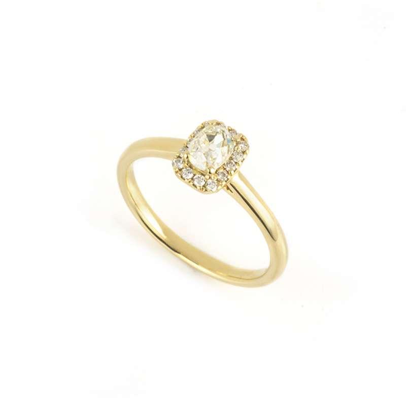 18k Yellow Gold Old Cushion Cut Diamond Ring 0.47ct